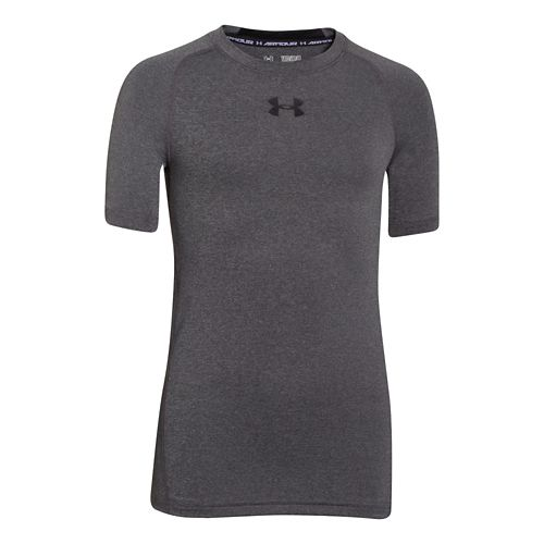 Kids Under Armour HeatGear Fitted Tee Short Sleeve Technical Tops - Carbon Heather YXS