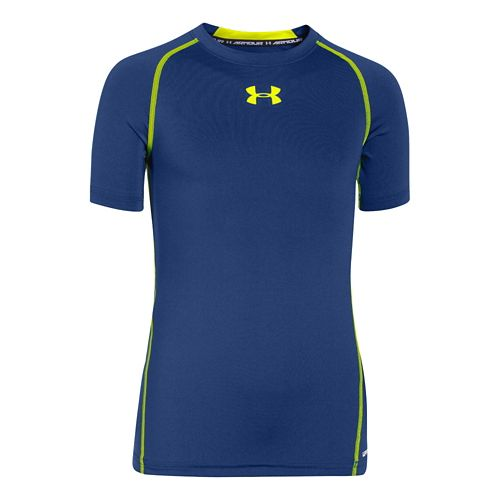 Kids Under Armour HeatGear Fitted Tee Short Sleeve Technical Tops - American Blue/Yellow YM
