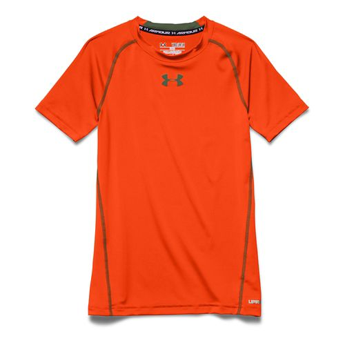 Kids Under Armour HeatGear Fitted Tee Short Sleeve Technical Tops - Toxic/Kale YM
