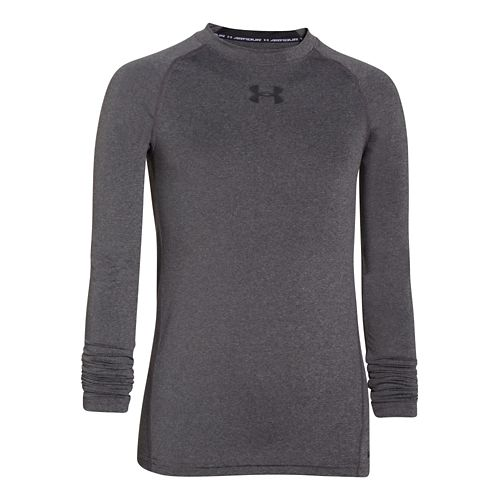 Kids Under Armour HeatGear Fitted Tee Long Sleeve No Zip Technical Tops - Carbon Heather/Black ...