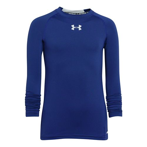 Kids Under Armour HeatGear Fitted Tee Long Sleeve No Zip Technical Tops - Royal/White YL ...
