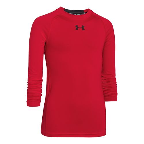 Mens Under Armour HeatGear Fitted Tee Long Sleeve No Zip Technical Tops - Red YL ...