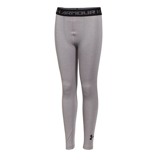 Kids Under Armour HeatGear Fitted Legging Full Length Tights - True Grey Heather YL