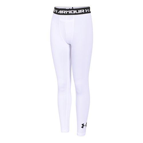 Kids Under Armour HeatGear Fitted Legging Full Length Tights - White/White YS