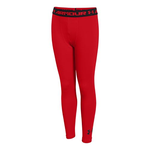 Kids Under Armour HeatGear Fitted Legging Full Length Tights - Red/Red YS