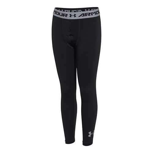 Kids Under Armour HeatGear Fitted Legging Full Length Tights - Black/Black YM