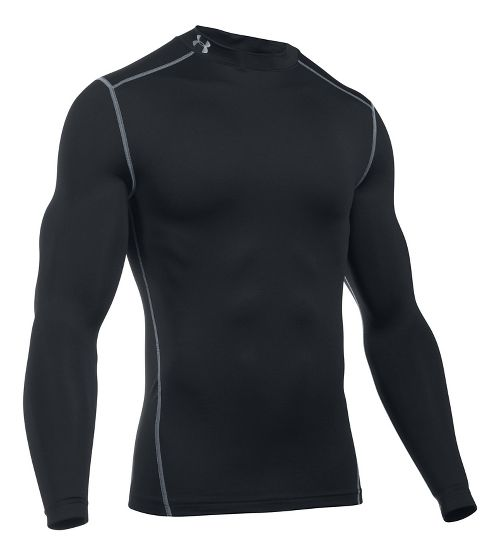 Mens Under Armour Coldgear Armour Compression Mock Long Sleeve No Zip Technical Tops - Black XXL