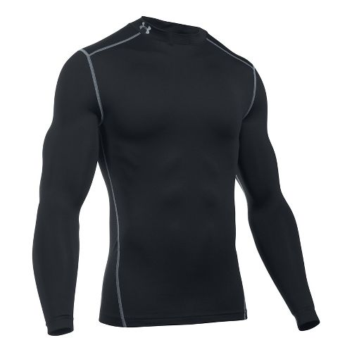 Mens Under Armour Coldgear Armour Compression Mock Long Sleeve No Zip Technical Tops - Black 3XL
