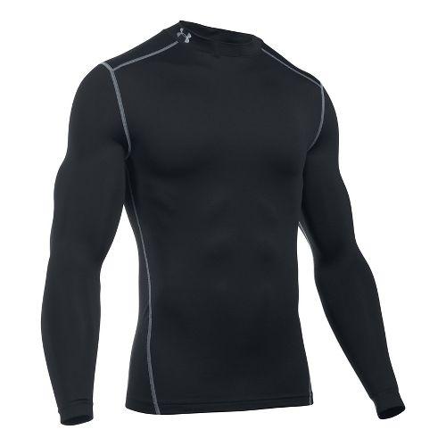 Mens Under Armour Coldgear Armour Compression Mock Long Sleeve No Zip Technical Tops - Black 4XL