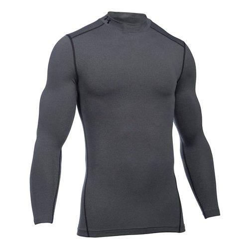 Mens Under Armour Coldgear Armour Compression Mock Long Sleeve No Zip Technical Tops - Carbon ...
