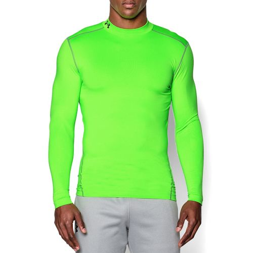 Mens Under Armour Coldgear Armour Compression Mock Long Sleeve No Zip Technical Tops - Hyper ...
