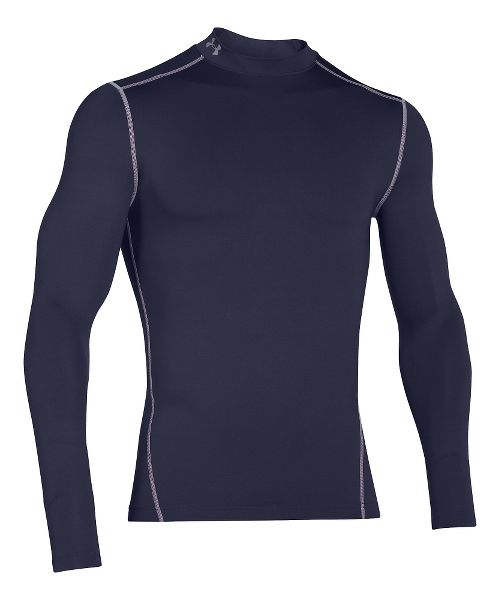 Mens Under Armour Coldgear Armour Compression Mock Long Sleeve No Zip Technical Tops - Midnight ...