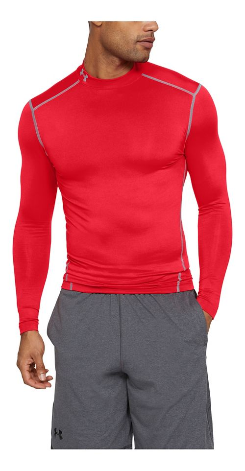 Mens Under Armour Coldgear Armour Compression Mock Long Sleeve No Zip Technical Tops - Red/Steel L