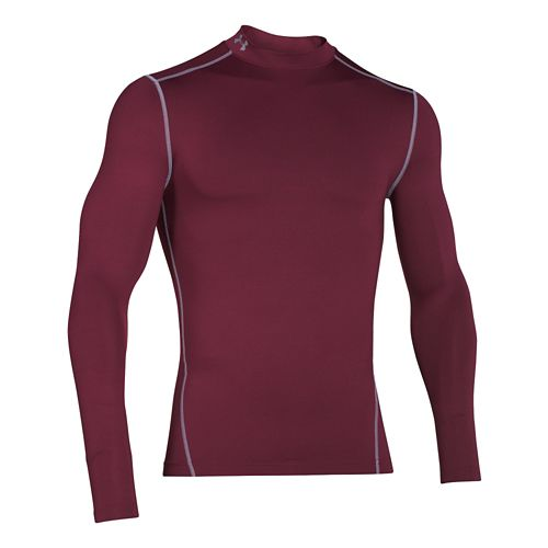 Mens Under Armour Coldgear Armour Compression Mock Long Sleeve No Zip Technical Tops - ...