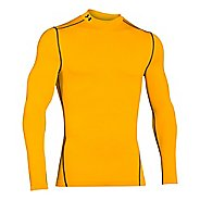 Mens Under Armour Coldgear Armour Compression Mock Long Sleeve No Zip Technical Tops - Gold/Black S