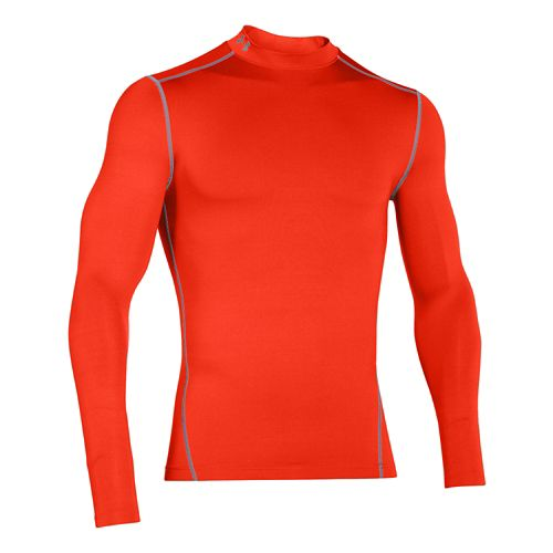Mens Under Armour Coldgear Armour Compression Mock Long Sleeve No Zip Technical Tops - Dark ...