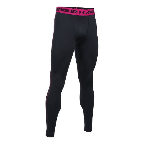 Mens Under Armour Coldgear Armour Compression Legging Full Length Tights - Black/Tropic Pink 3XL