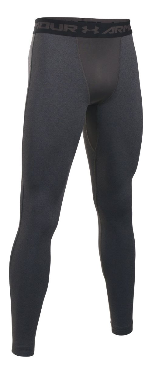 Mens Under Armour Coldgear Armour Compression Legging Full Length Tights - Carbon Heather/Black 3XL