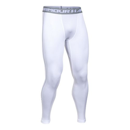 Mens Under Armour Coldgear Armour Compression Legging Full Length Tights - White/Steel L