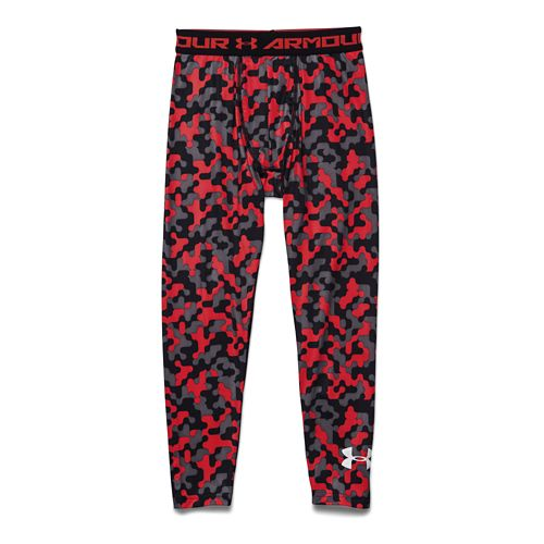 Kids Under Armour HeatGear Fitted Printed Legging Full Length Tights - Graphite/Risk Red YM