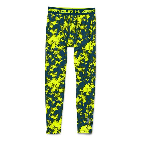 Kids Under Armour HeatGear Fitted Printed Legging Full Length Tights - Legion Blue YXL