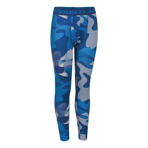 Kids Under Armour HeatGear Fitted Printed Legging Full Length Tights - American Blue YXS