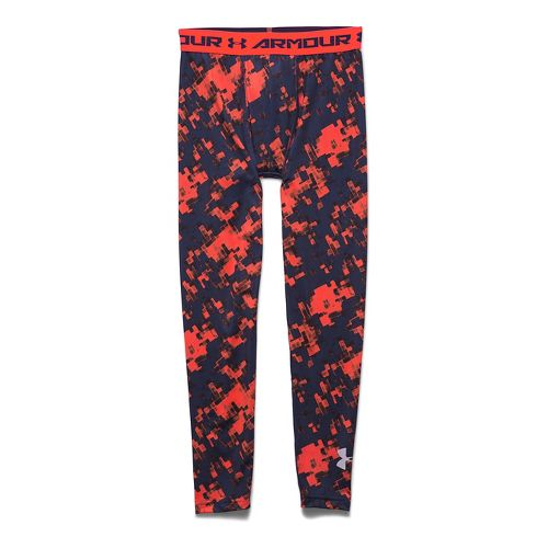 Kids Under Armour HeatGear Fitted Printed Legging Full Length Tights - Bolt Orange YM