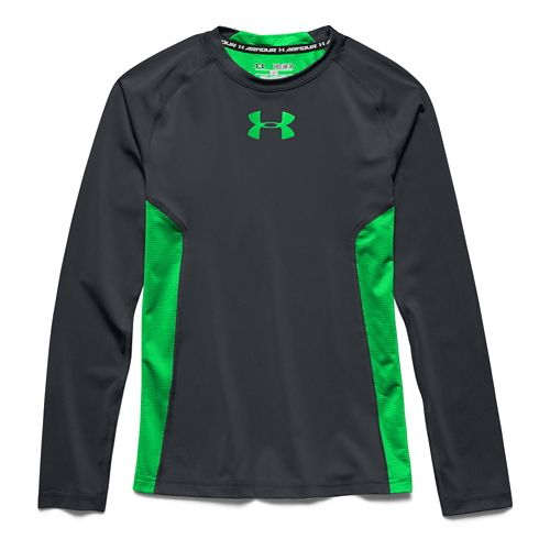Kids Under Armour HeatGear Fitted Tee Long Sleeve No Zip Technical Tops - Anthracite YS ...