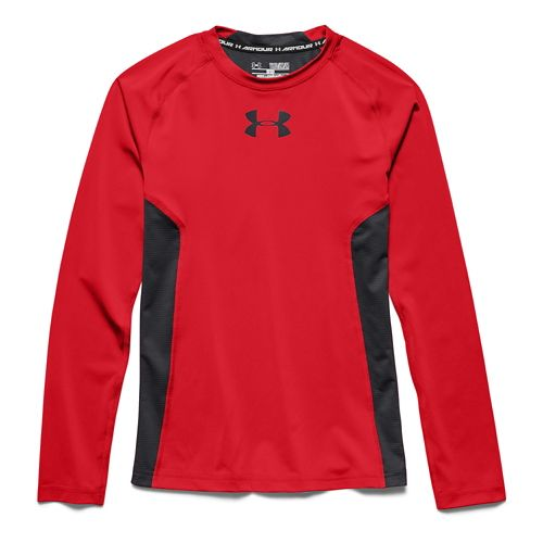Under Armour Boys HeatGear Fitted Tee Long Sleeve No Zip Technical Tops - Risk Red ...