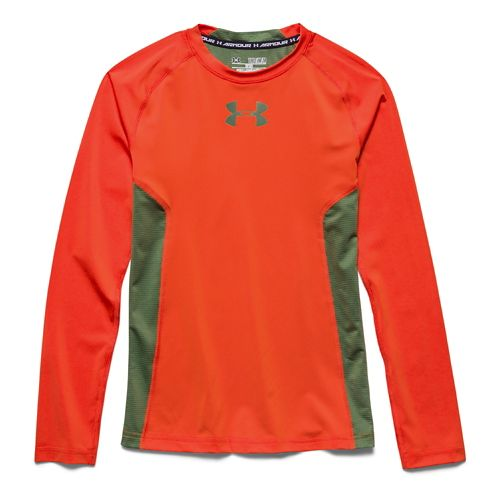 Kids Under Armour HeatGear Fitted Tee Long Sleeve No Zip Technical Tops - Toxic YXS ...