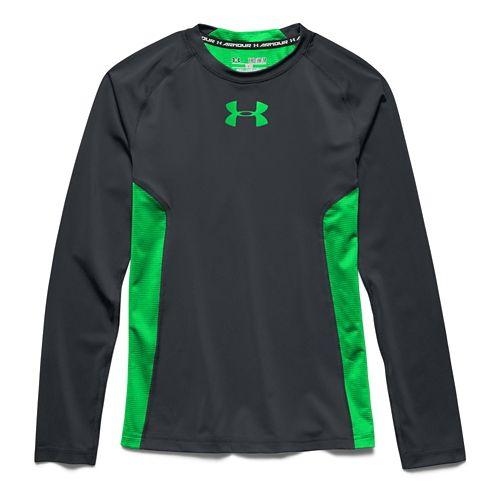 Kids Under Armour HeatGear Fitted Tee Long Sleeve No Zip Technical Tops - Velocity YXS ...