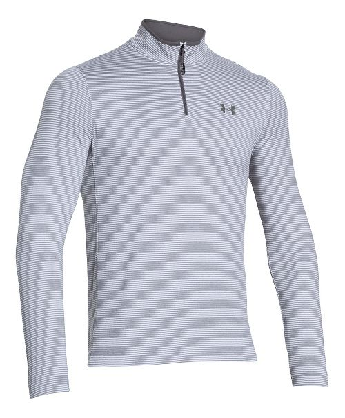 Mens Under Armour Coldgear Infrared 1/4 Zip Long Sleeve Half Zip Technical Tops - White/Graphite M