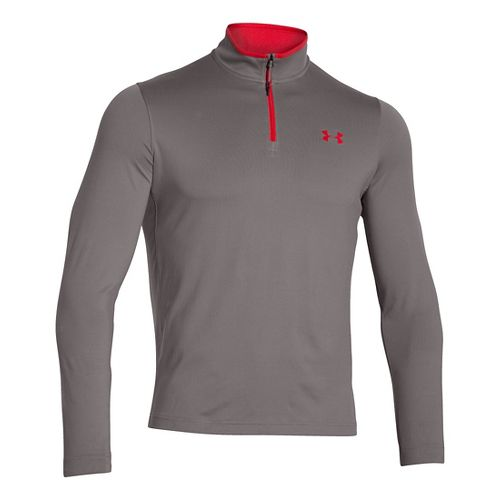 Mens Under Armour Coldgear Infrared 1/4 Zip Long Sleeve Half Zip Technical Tops - Tan ...
