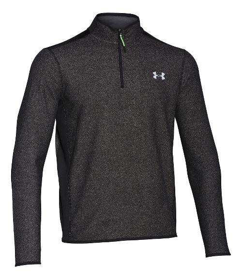 Mens Under Armour Coldgear Infrared Survival Fleece Long Sleeve Half Zip Technical Tops - Black M