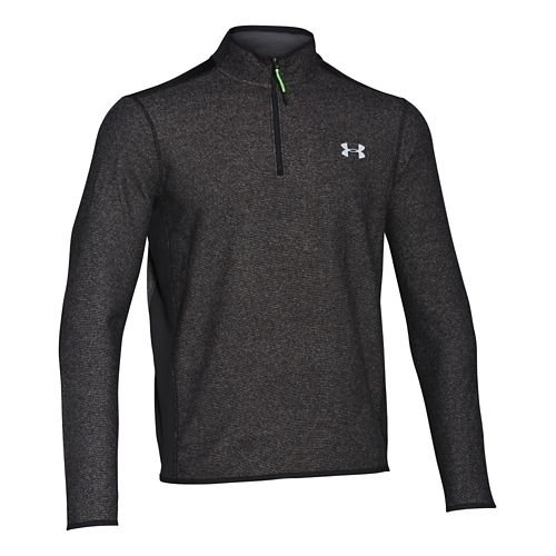 Mens Under Armour Coldgear Infrared Survival Fleece Long Sleeve Half Zip Technical Tops - Black ...