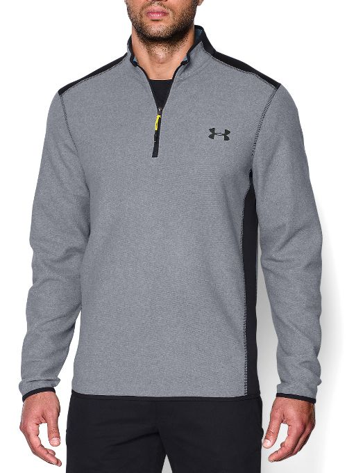 Mens Under Armour Coldgear Infrared Survival Fleece Long Sleeve Half Zip Technical Tops - Steel S