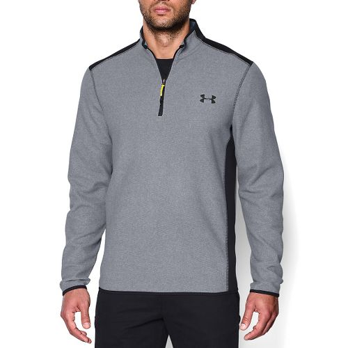 Mens Under Armour Coldgear Infrared Survival Fleece Long Sleeve Half Zip Technical Tops - Steel ...