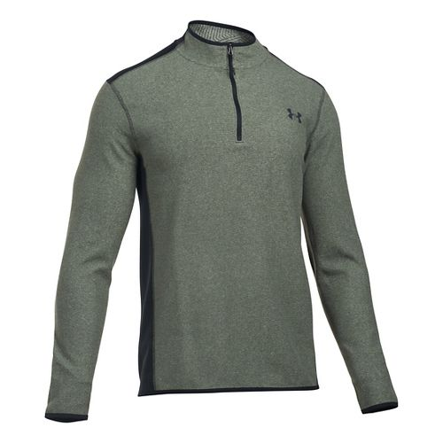 Mens Under Armour Coldgear Infrared Survival Fleece Long Sleeve Half Zip Technical Tops - Army ...