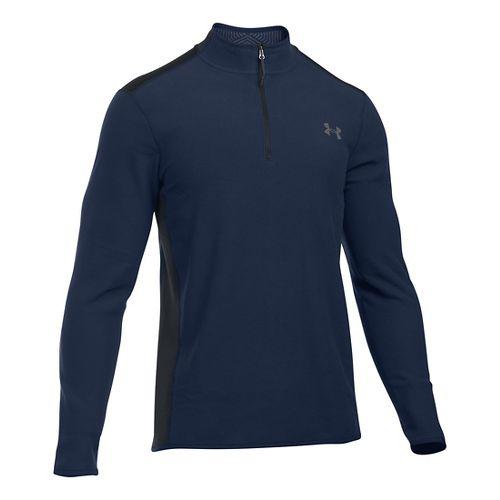 Mens Under Armour Coldgear Infrared Survival Fleece Long Sleeve Half Zip Technical Tops - Black ...