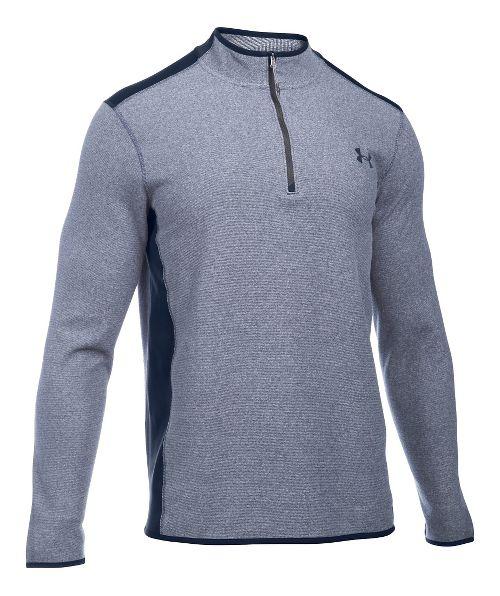 Mens Under Armour Coldgear Infrared Survival Fleece Long Sleeve Half Zip Technical Tops - Army ...