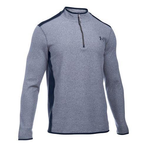Mens Under Armour Coldgear Infrared Survival Fleece Long Sleeve Half Zip Technical Tops - ...