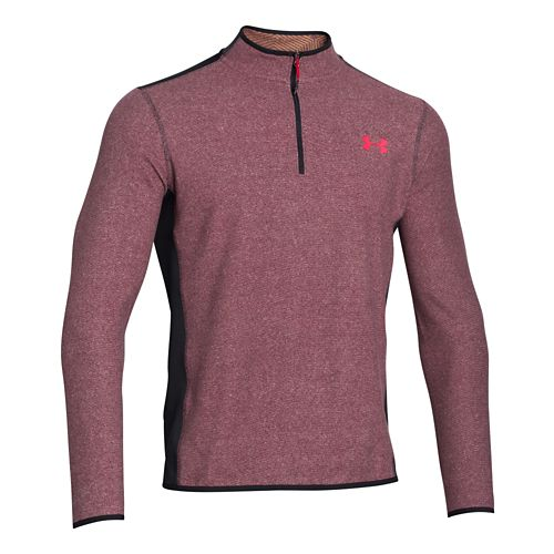 Mens Under Armour Coldgear Infrared Survival Fleece Long Sleeve Half Zip Technical Tops - Deep ...