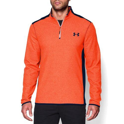 Mens Under Armour Coldgear Infrared Survival Fleece Long Sleeve Half Zip Technical Tops - Blue ...