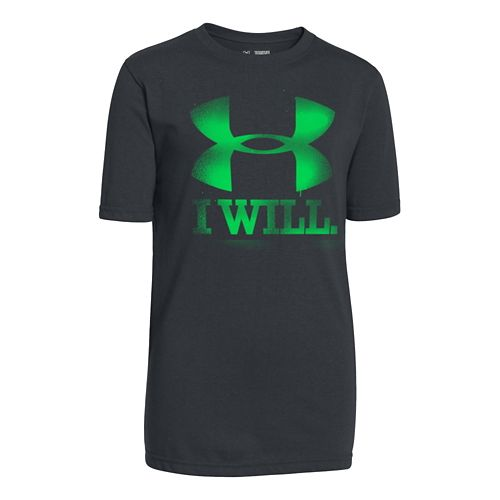Kids Under Armour Contender Tee Short Sleeve Technical Tops - Anthracite YS