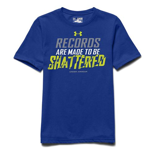 Kids Under Armour Records Shattered Tee Short Sleeve Technical Tops - Royal/Steel YXL