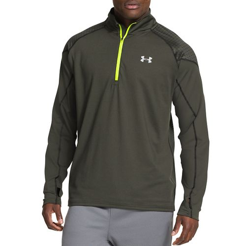 Mens Under Armour Coldgear Infrared Run Long Sleeve 1/2 Zip Technical Tops - Rifle Green ...