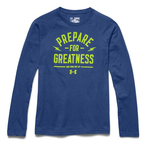 Kids Under Armour Prepare for Great Longsleeve Tee Short Sleeve Technical Tops - American Blue ...