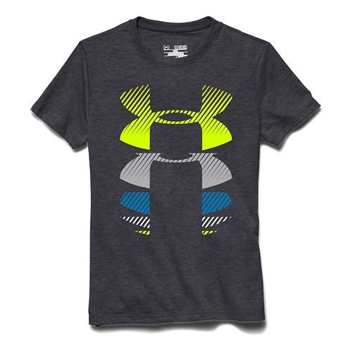 Kids Under Armour Rising Logo Tee Short Sleeve Technical Tops - White YL