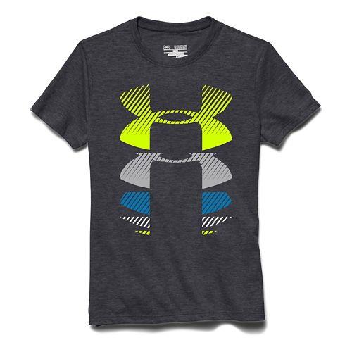 Kids Under Armour Rising Logo Tee Short Sleeve Technical Tops - Carbon Heather YS