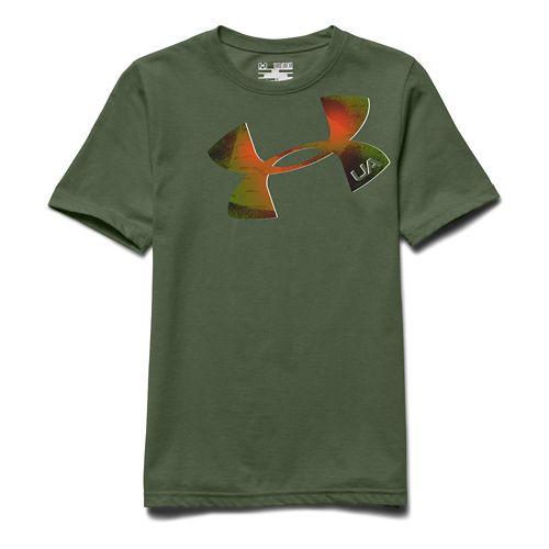 Kids Under Armour Logo Tee Short Sleeve Technical Tops - Kale/Black YXL